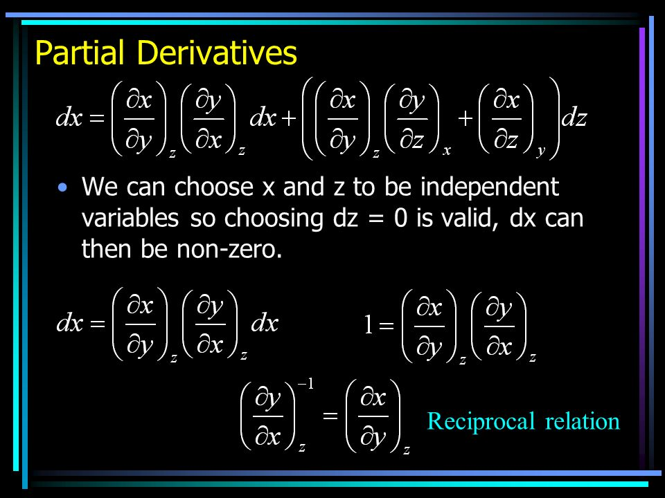 Partial Derivatives We can choose x and z to be independent variables so choosing dz = 0 is valid, dx can then be non-zero.