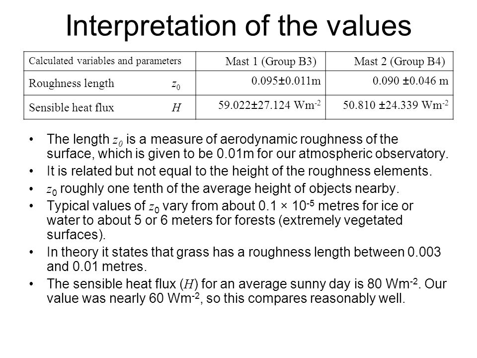 Interpretation of the values Calculated variables and parameters Mast 1 (Group B3) Mast 2 (Group B4) Roughness lengthz ±0.011m0.090±0.046 m Sensible heat fluxH ± Wm ± Wm -2 The length z 0 is a measure of aerodynamic roughness of the surface, which is given to be 0.01m for our atmospheric observatory.