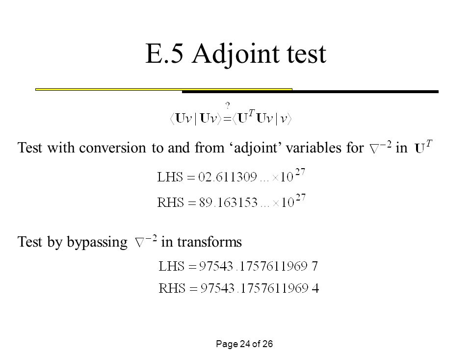 Page 24 of 26 Test with conversion to and from adjoint variables for in Test by bypassing in transforms E.5 Adjoint test