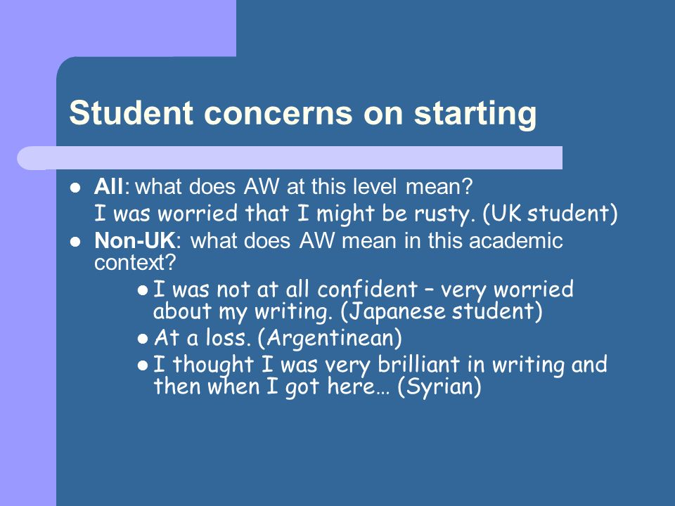 Student concerns on starting All: what does AW at this level mean.