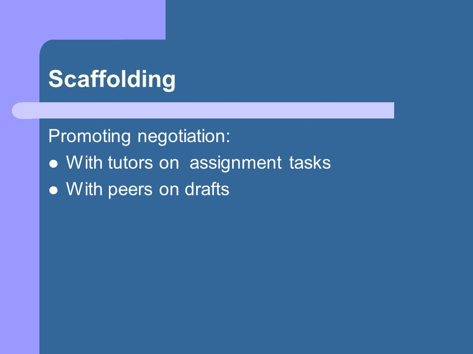 Scaffolding Promoting negotiation: With tutors on assignment tasks With peers on drafts