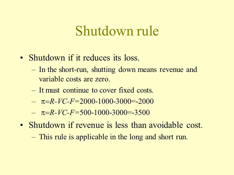 Short-run output decision MC=MR R=pq MC=p Cost, revenue, Thousand $ 284140 0 qme per year 2,272 4,800 426 1,846 100 – 1 MR = 8 * = $426,000 * (q) Cost,CRevenue p, $ per ton e 2841400 q, Thousand metric tons of lime per year 8 6.50 6 10 p =MR * = $426,000 AC MC, Thousand metric tons of li