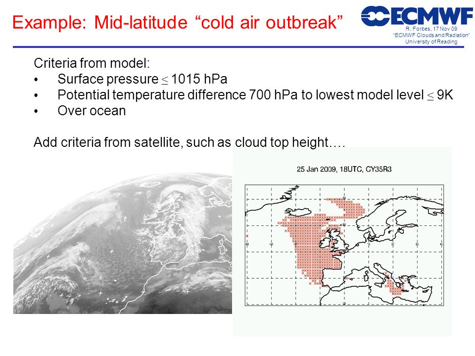 R. Forbes, 17 Nov 09 ECMWF Clouds and Radiation University of Reading Example: Mid-latitude cold air outbreak Criteria from model: Surface pressure 10
