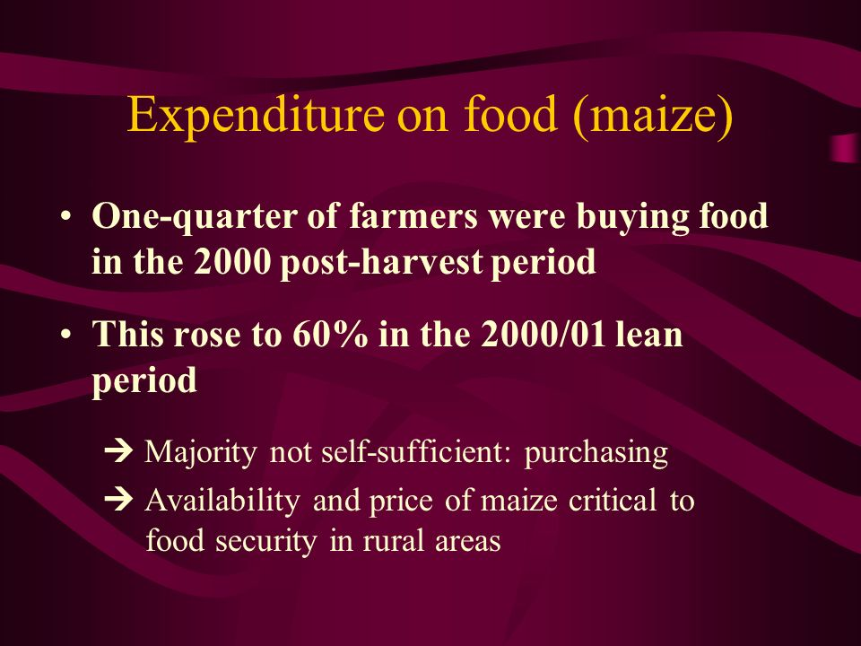 Expenditure on food (maize) One-quarter of farmers were buying food in the 2000 post-harvest period This rose to 60% in the 2000/01 lean period Majori