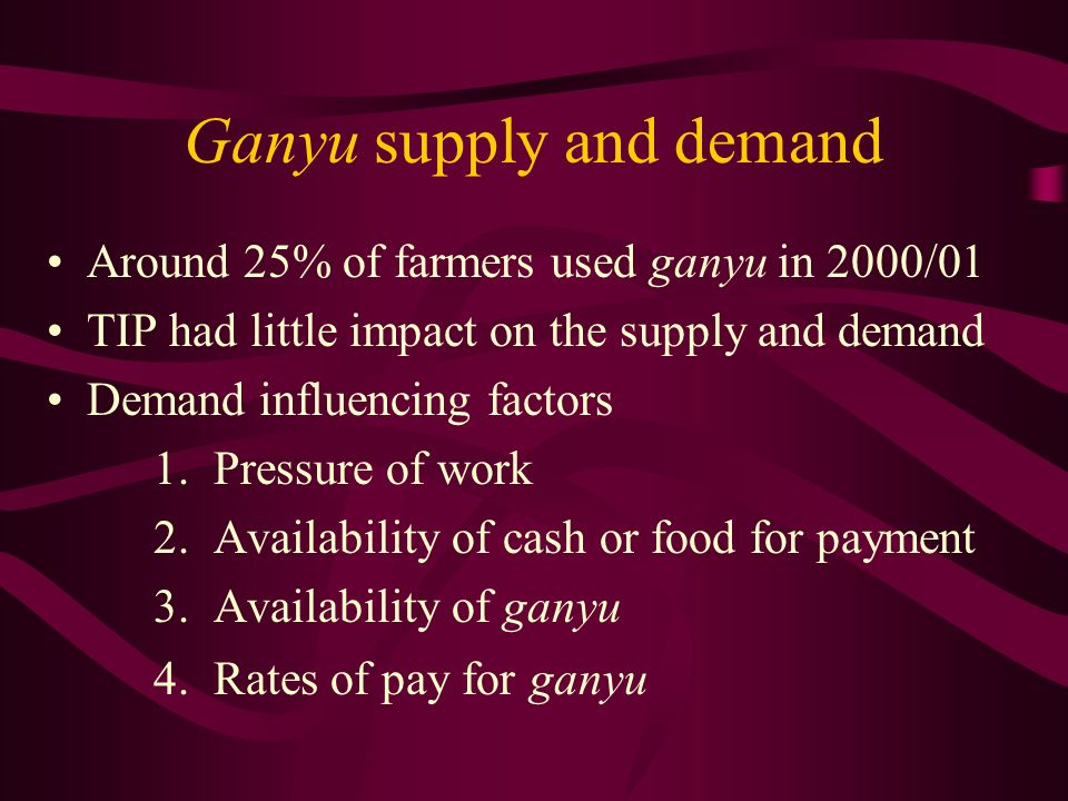Ganyu supply and demand Around 25% of farmers used ganyu in 2000/01 TIP had little impact on the supply and demand Demand influencing factors 1.