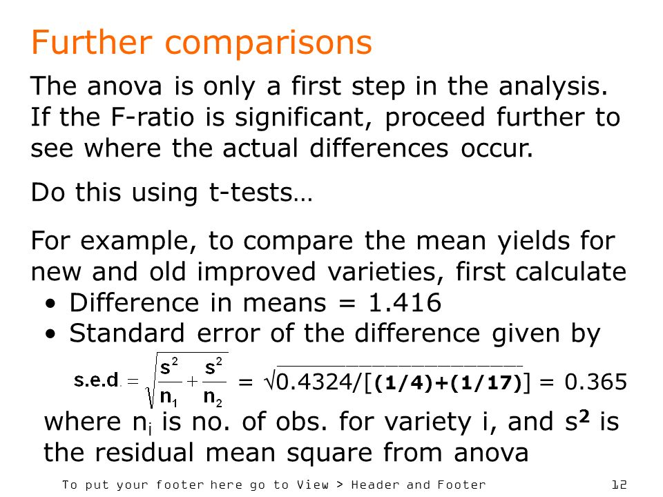 To put your footer here go to View > Header and Footer 12 Further comparisons The anova is only a first step in the analysis. If the F-ratio is signif
