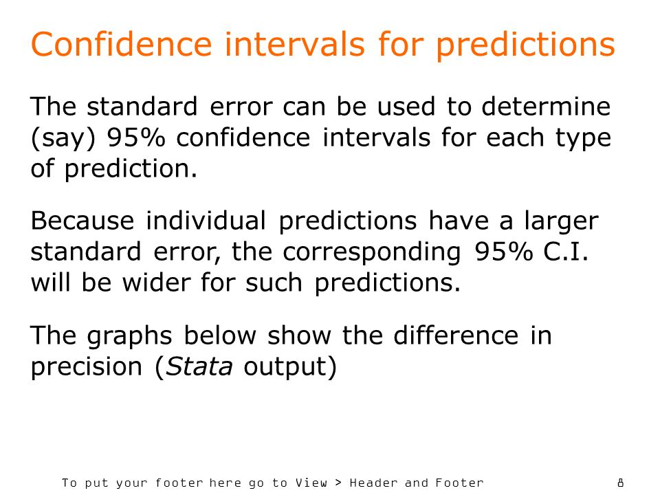 To put your footer here go to View > Header and Footer 19 Key Steps in model prediction… Select carefully a set of potential explanatory variables Decide the direction of influence expected (+ or – for regression coefficients) Use a suitable model selection approach to identify the subset of variables contributing significantly to explaining the variation in the key response(y) Conduct a residual analysis and take remedial action if problems occur