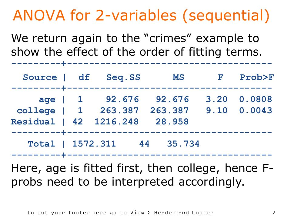 To put your footer here go to View > Header and Footer 7 ANOVA for 2-variables (sequential) We return again to the crimes example to show the effect of the order of fitting terms.