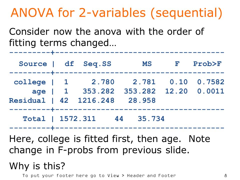 To put your footer here go to View > Header and Footer 8 ANOVA for 2-variables (sequential) Consider now the anova with the order of fitting terms changed… ---------+------------------------------------- Source | df Seq.SS MS F Prob>F ---------+------------------------------------- college | 1 2.780 2.781 0.10 0.7582 age | 1 353.282 353.282 12.20 0.0011 Residual | 42 1216.248 28.958 ---------+------------------------------------- Total | 1572.311 44 35.734 ---------+------------------------------------- Here, college is fitted first, then age.