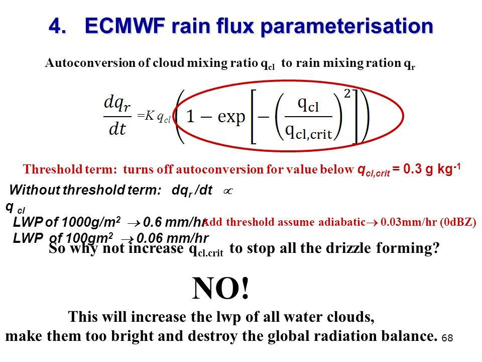 68 4. ECMWF rain flux parameterisation Without threshold term: dq r /dt q cl LWP of 1000g/m 2 0.6 mm/hr LWP of 100gm 2 0.06 mm/hr =K q cl Autoconversi
