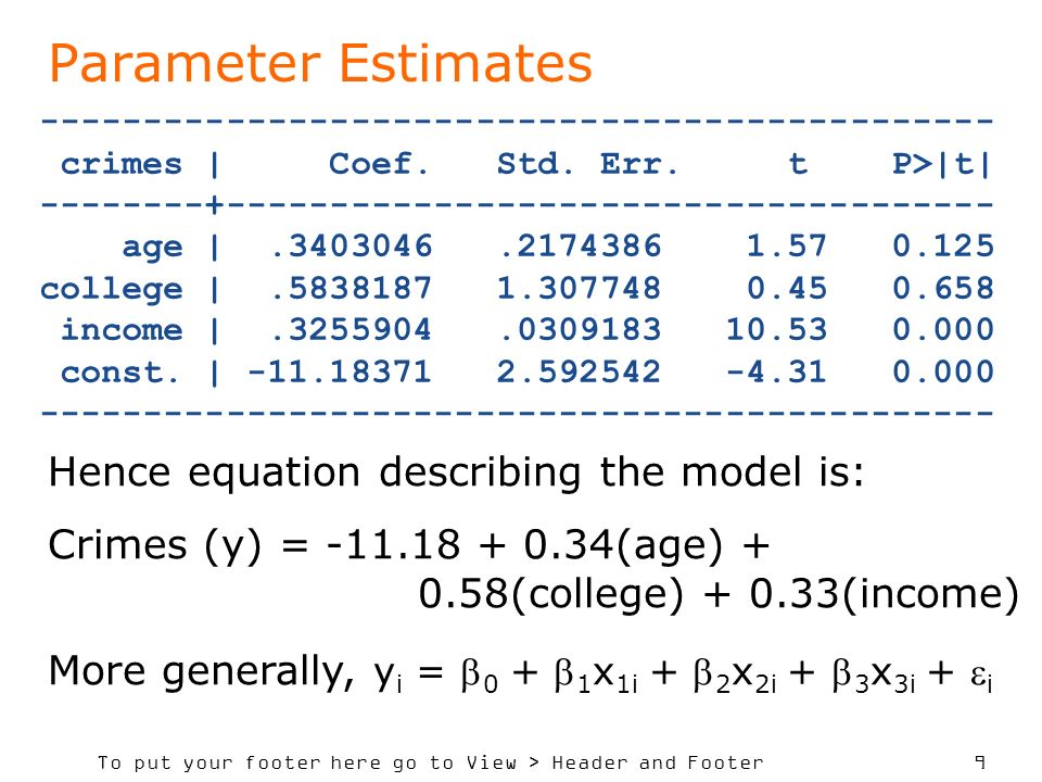 To put your footer here go to View > Header and Footer 9 Parameter Estimates ---------------------------------------------- crimes | Coef.