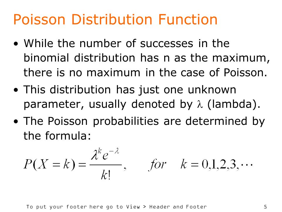 To put your footer here go to View > Header and Footer 6 Suppose the number of cars stolen per month follows a Poisson distribution with parameter = 3 What is the probability that in a given month Exactly 2 cars will be stolen.
