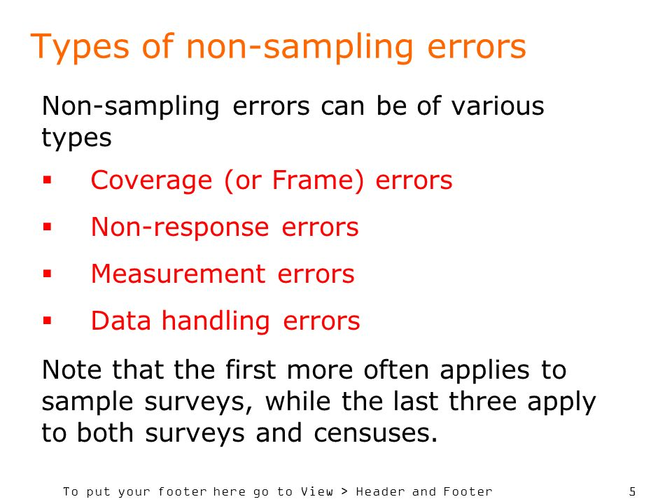 To put your footer here go to View > Header and Footer 5 Types of non-sampling errors Non-sampling errors can be of various types Coverage (or Frame)