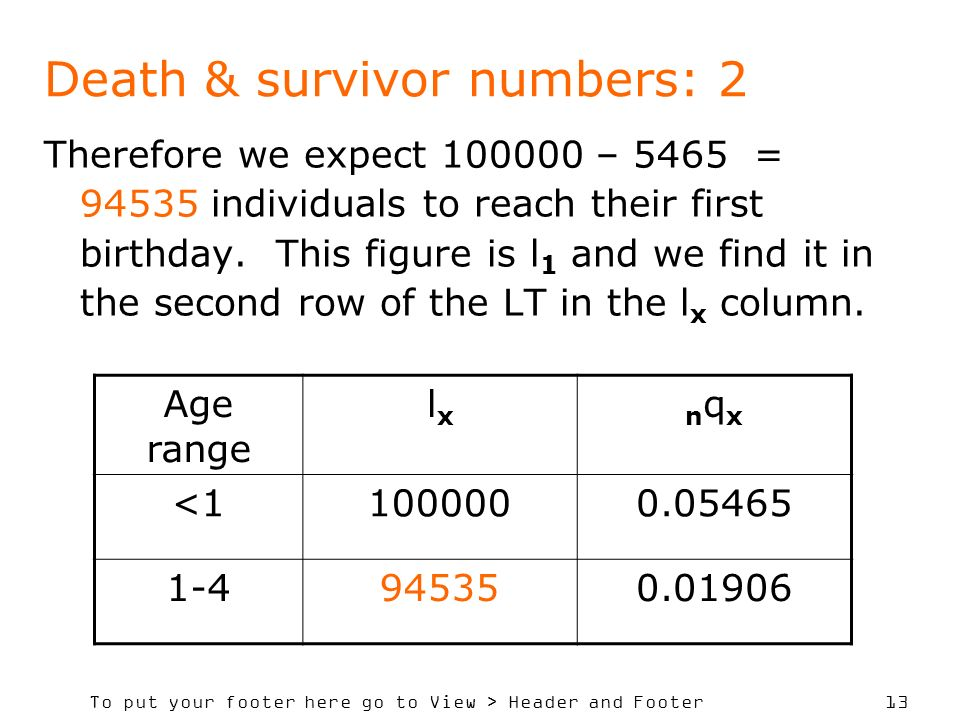 To put your footer here go to View > Header and Footer 13 Death & survivor numbers: 2 Therefore we expect 100000 – 5465 = 94535 individuals to reach t