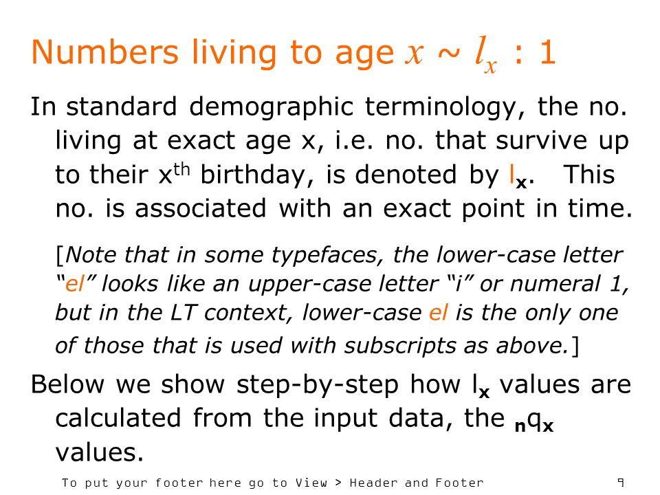 To put your footer here go to View > Header and Footer 20 Demographic algebra: 1