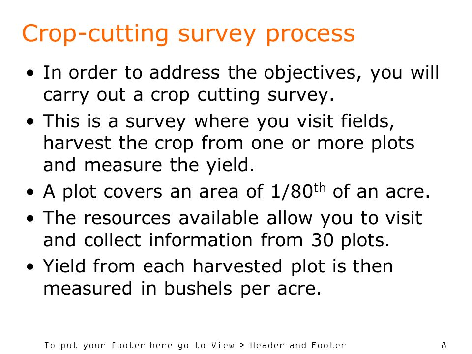 To put your footer here go to View > Header and Footer 9 Transport costs allow your survey team to visit a maximum of 5 villages, although you might decide to visit less than 5.