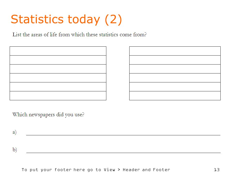To put your footer here go to View > Header and Footer 13 Statistics today (2)