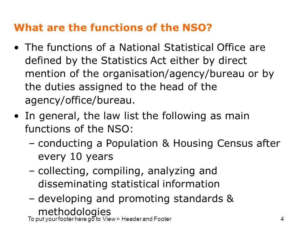 To put your footer here go to View > Header and Footer 4 What are the functions of the NSO? The functions of a National Statistical Office are defined