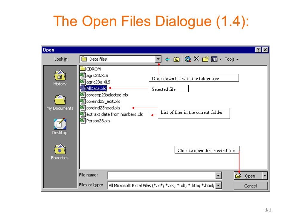 10 Click to open the selected file List of files in the current folder Selected file Drop-down list with the folder tree The Open Files Dialogue (1.4):