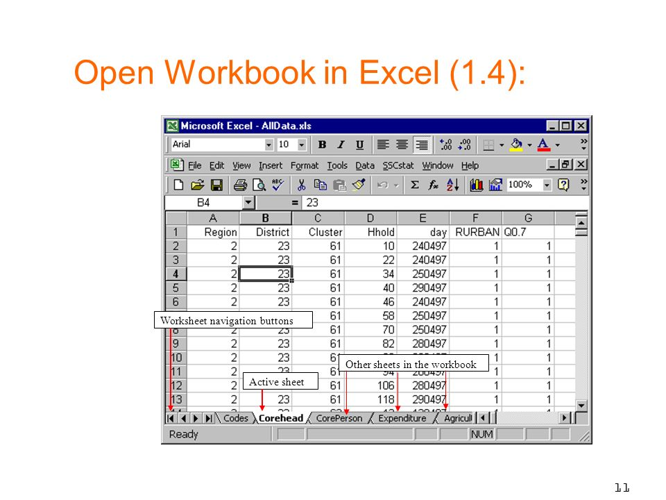 11 Active sheet Other sheets in the workbook Worksheet navigation buttons Open Workbook in Excel (1.4):