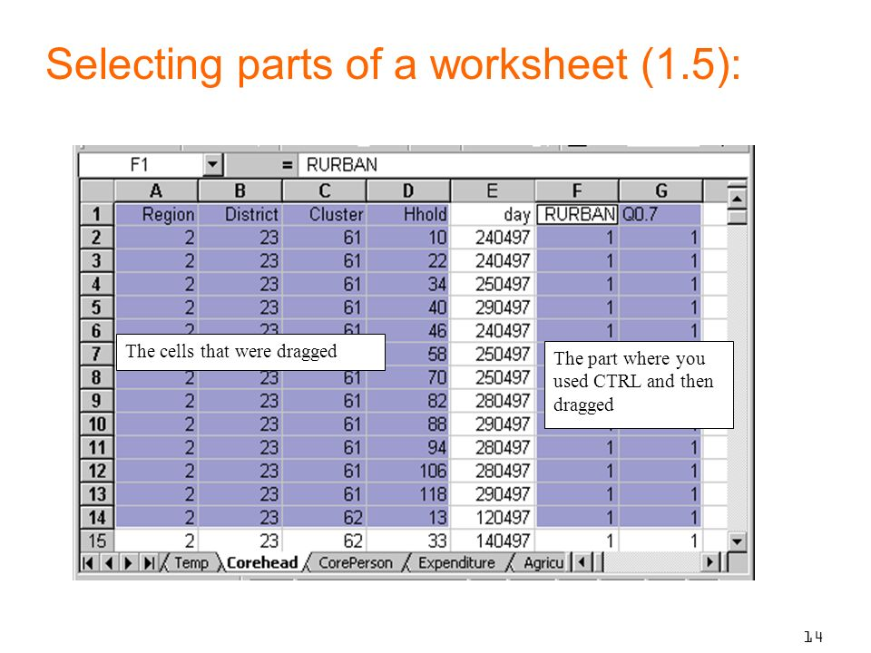 14 The cells that were dragged The part where you used CTRL and then dragged Selecting parts of a worksheet (1.5):