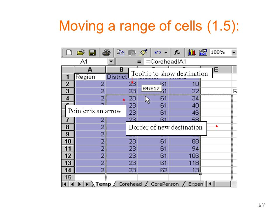 17 Tooltip to show destination Pointer is an arrow Border of new destination Moving a range of cells (1.5):