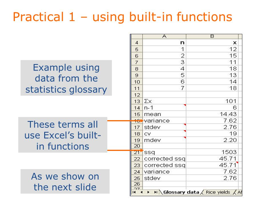 Practical 1 – using built-in functions Example using data from the statistics glossary These terms all use Excels built- in functions As we show on the next slide