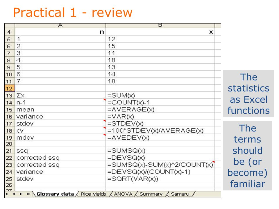 Practical 1 - review The statistics as Excel functions The terms should be (or become) familiar