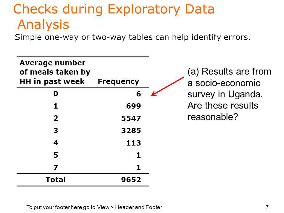 To put your footer here go to View > Header and Footer 7 Checks during Exploratory Data Analysis Simple one-way or two-way tables can help identify errors.