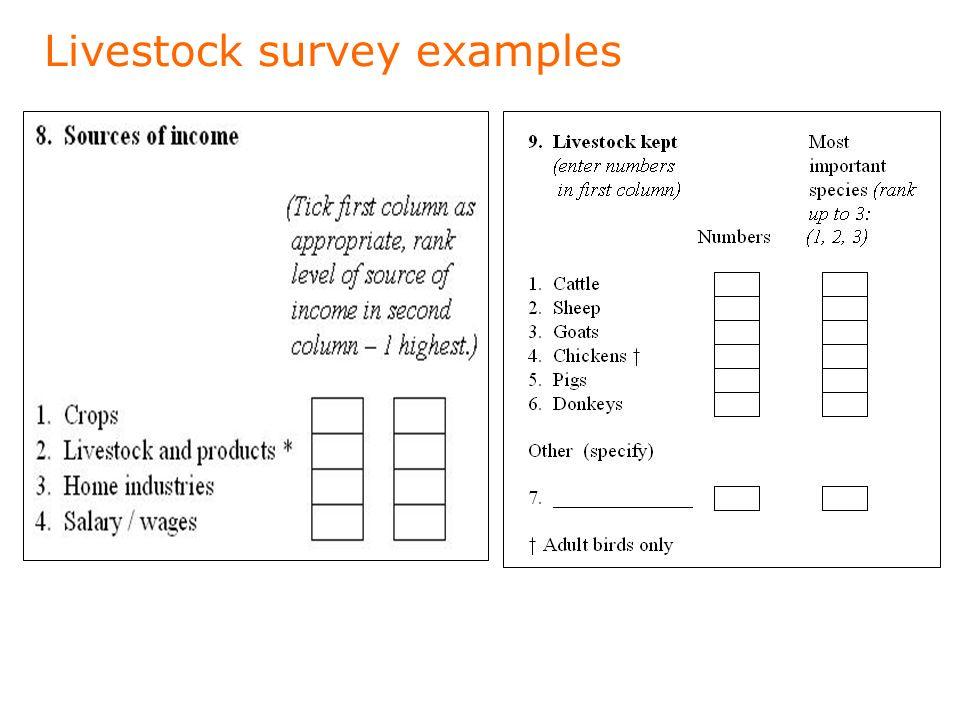 Livestock survey examples