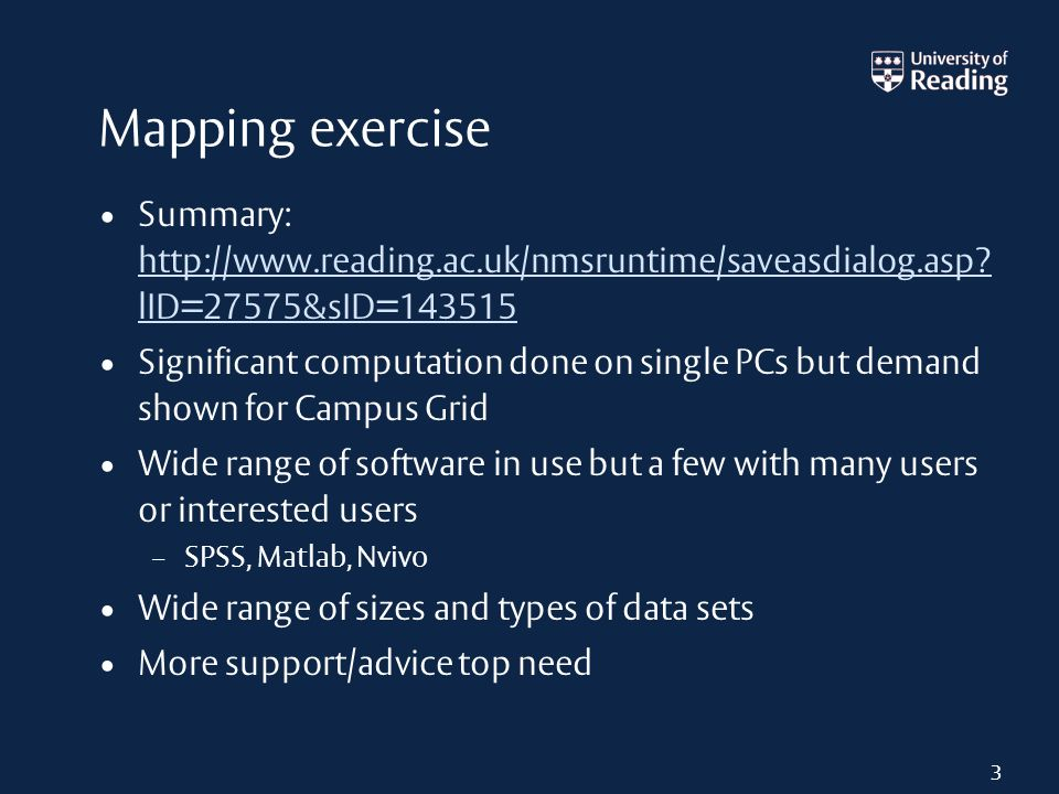 Mapping exercise Summary: