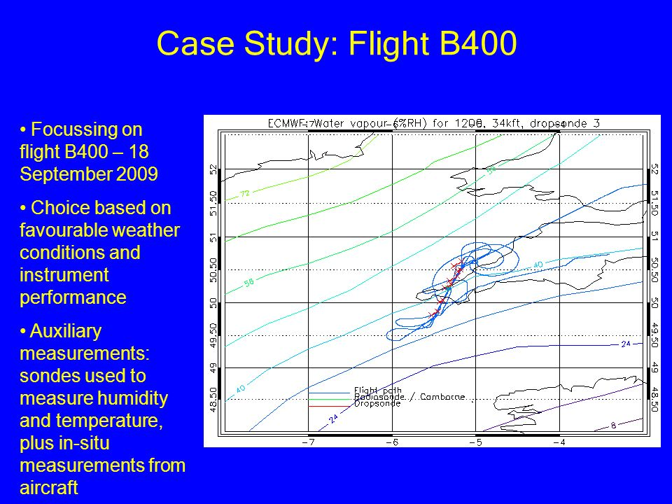 Case Study: Flight B400 Focussing on flight B400 – 18 September 2009 Choice based on favourable weather conditions and instrument performance Auxiliar