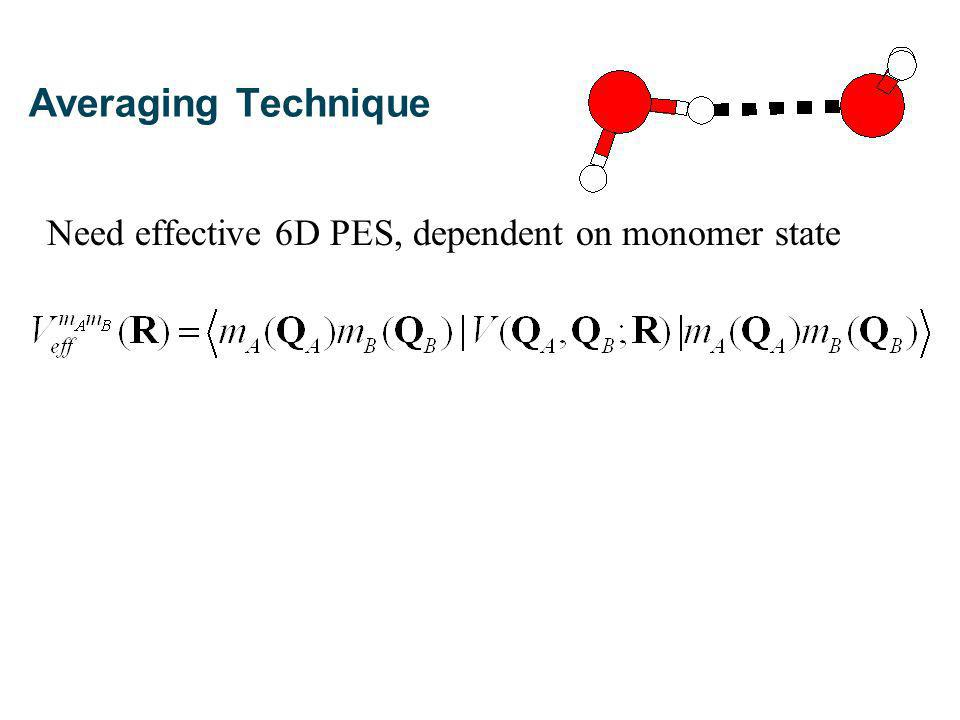 Need effective 6D PES, dependent on monomer state Averaging Technique