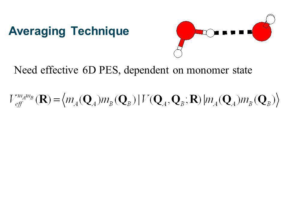 (a) 6D averaging: (b) 3D+3D averaging: C Leforestier et al, J Chem Phys, 117, 8710 (2002) Averaging Technique