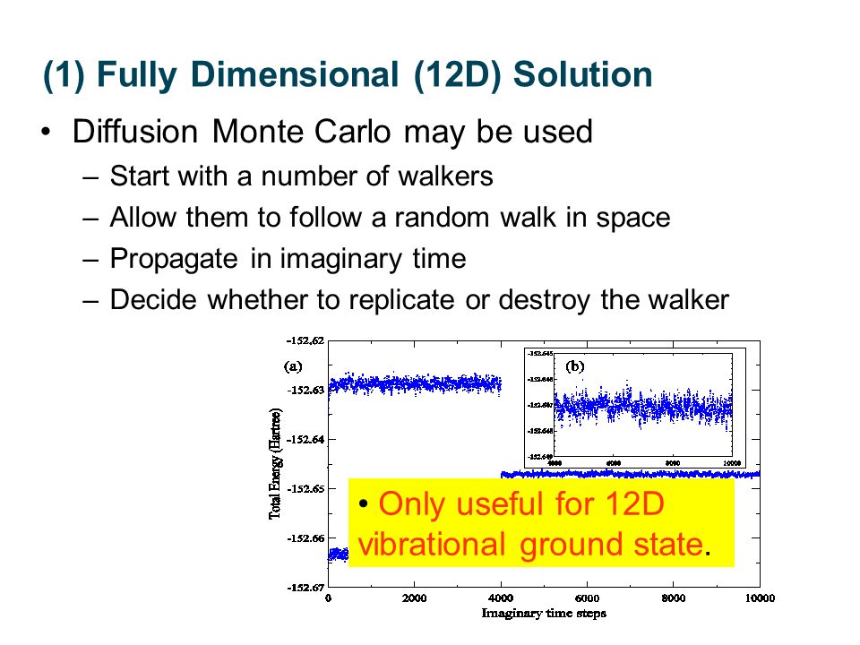 Diffusion Monte Carlo may be used –Start with a number of walkers –Allow them to follow a random walk in space –Propagate in imaginary time –Decide wh