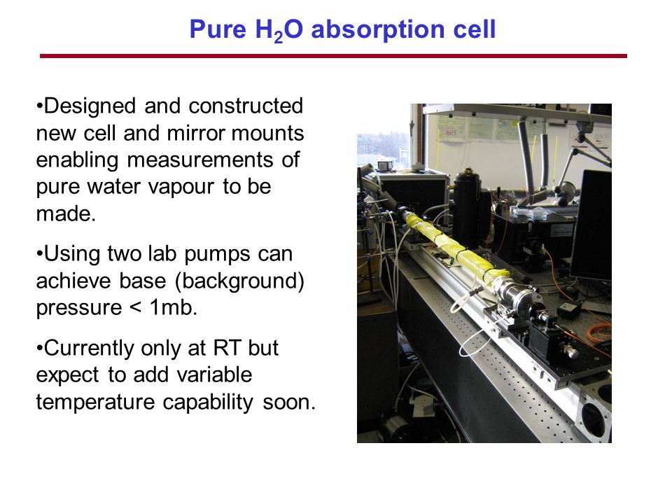 Pure H 2 O absorption cell Designed and constructed new cell and mirror mounts enabling measurements of pure water vapour to be made.