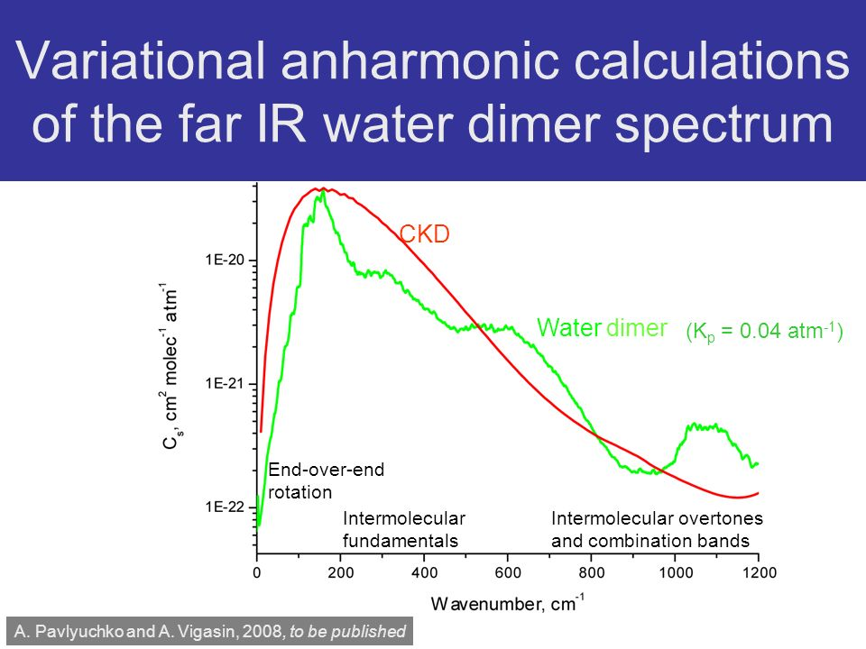 Variational anharmonic calculations of the far IR water dimer spectrum CKD Water dimer End-over-end rotation Intermolecular fundamentals Intermolecular overtones and combination bands A.