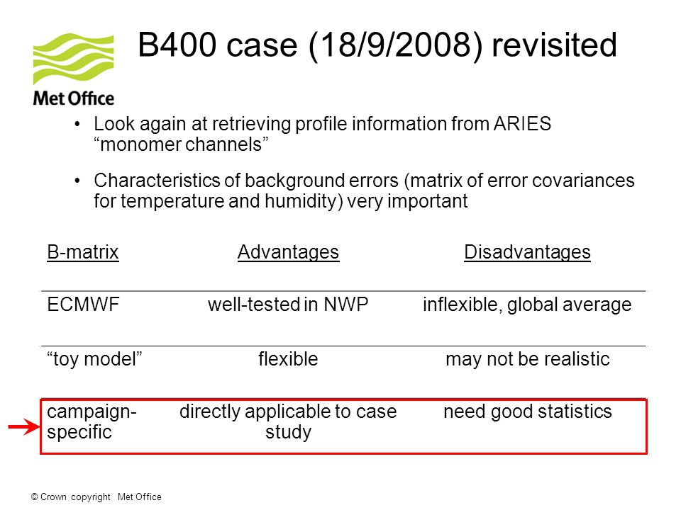 © Crown copyright Met Office B400 case (18/9/2008) revisited Look again at retrieving profile information from ARIES monomer channels Characteristics
