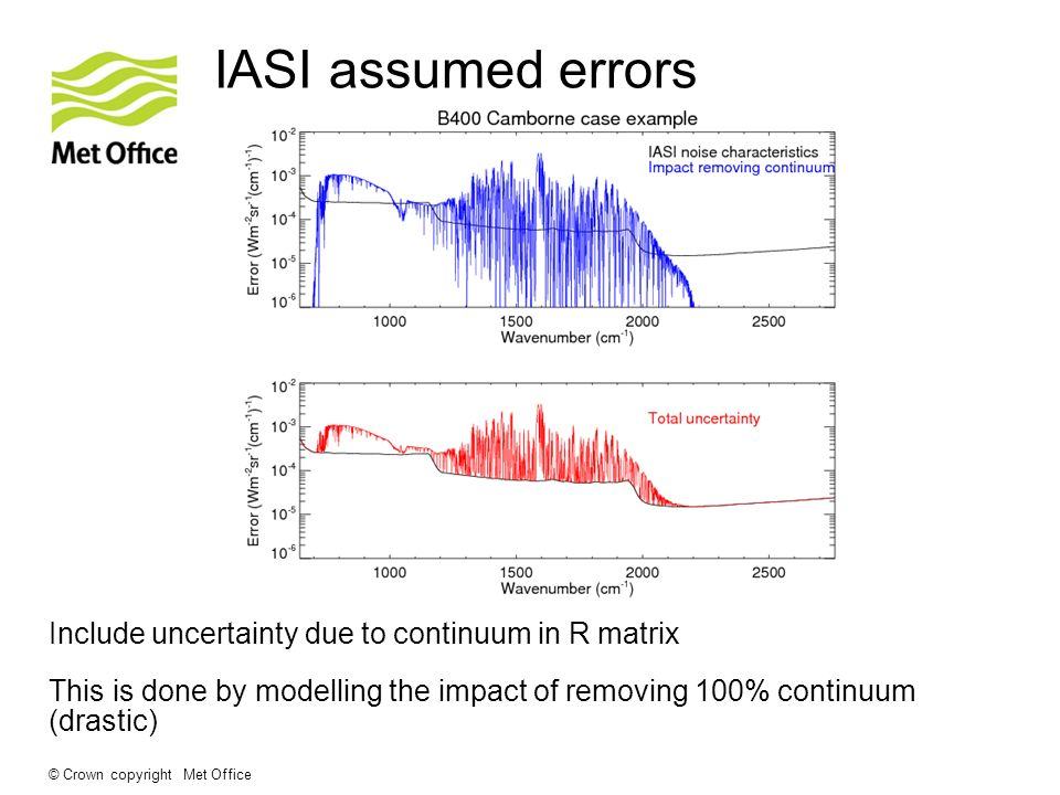 © Crown copyright Met Office IASI assumed errors This is done by modelling the impact of removing 100% continuum (drastic) Include uncertainty due to continuum in R matrix