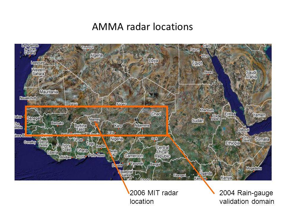 AMMA radar locations 2006 MIT radar location 2004 Rain-gauge validation domain