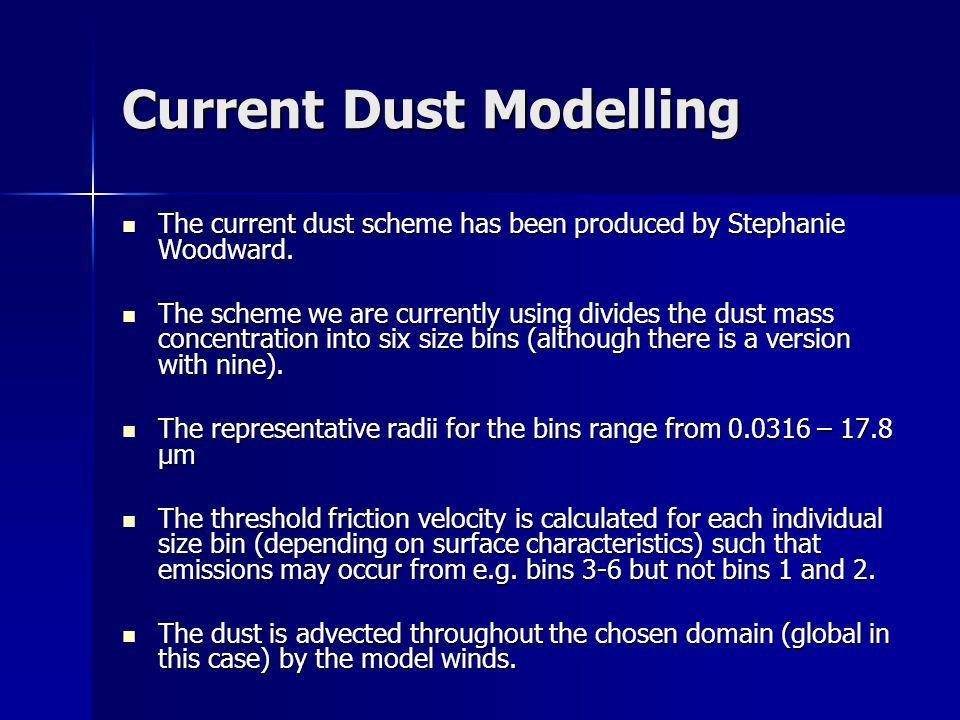 Current Dust Modelling The current dust scheme has been produced by Stephanie Woodward. The current dust scheme has been produced by Stephanie Woodwar