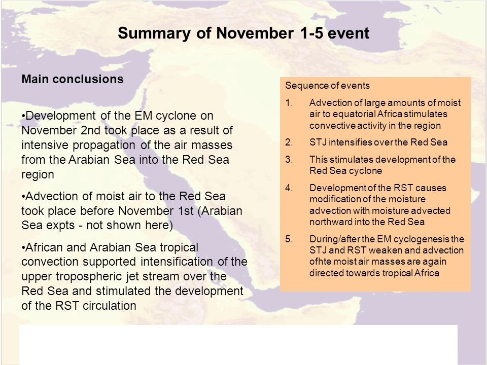Summary of November 1-5 event Main conclusions Development of the EM cyclone on November 2nd took place as a result of intensive propagation of the air masses from the Arabian Sea into the Red Sea region Advection of moist air to the Red Sea took place before November 1st (Arabian Sea expts - not shown here) African and Arabian Sea tropical convection supported intensification of the upper tropospheric jet stream over the Red Sea and stimulated the development of the RST circulation Sequence of events 1.Advection of large amounts of moist air to equatorial Africa stimulates convective activity in the region 2.STJ intensifies over the Red Sea 3.This stimulates development of the Red Sea cyclone 4.Development of the RST causes modification of the moisture advection with moisture advected northward into the Red Sea 5.During/after the EM cyclogenesis the STJ and RST weaken and advection ofhte moist air masses are again directed towards tropical Africa