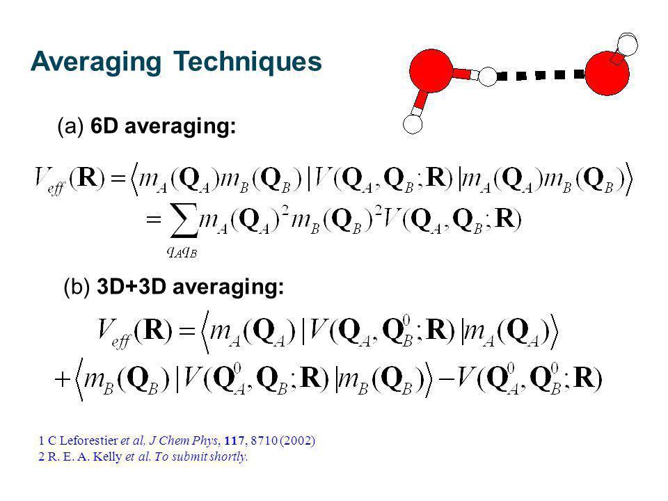 (a) 6D averaging: (b) 3D+3D averaging: 1 C Leforestier et al, J Chem Phys, 117, 8710 (2002) 2 R. E. A. Kelly et al. To submit shortly. Averaging Techn