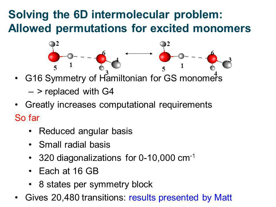 1 1 5 5 2 2 66 4 4 3 3 G16 Symmetry of Hamiltonian for GS monomers –> replaced with G4 Greatly increases computational requirements So far Reduced angular basis Small radial basis 320 diagonalizations for 0-10,000 cm -1 Each at 16 GB 8 states per symmetry block Gives 20,480 transitions: results presented by Matt Solving the 6D intermolecular problem: Allowed permutations for excited monomers