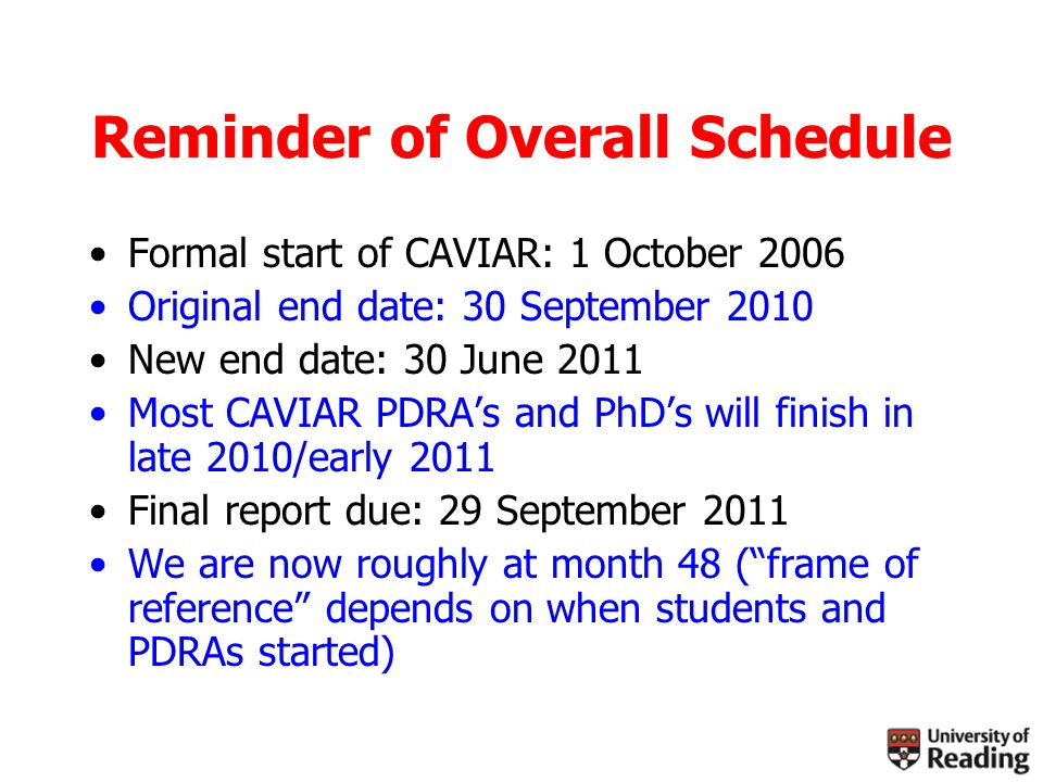 Reminder of Overall Schedule Formal start of CAVIAR: 1 October 2006 Original end date: 30 September 2010 New end date: 30 June 2011 Most CAVIAR PDRAs and PhDs will finish in late 2010/early 2011 Final report due: 29 September 2011 We are now roughly at month 48 (frame of reference depends on when students and PDRAs started)