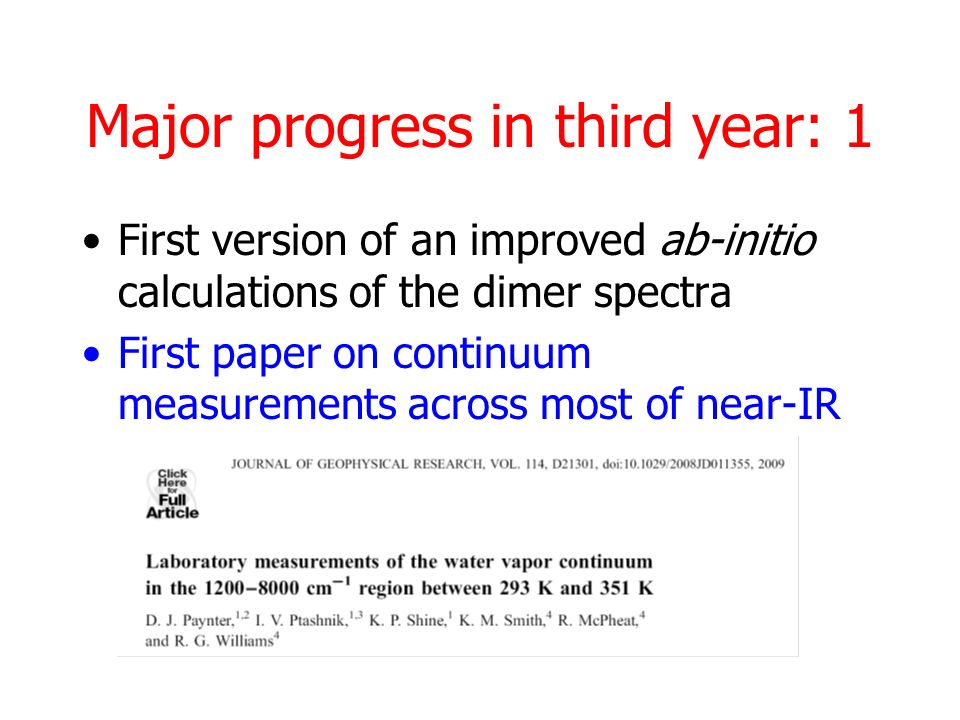 Major progress in third year: 1 First version of an improved ab-initio calculations of the dimer spectra First paper on continuum measurements across most of near-IR