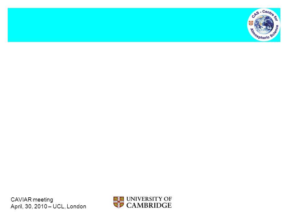 CAVIAR meeting April, 30, 2010 – UCL, London