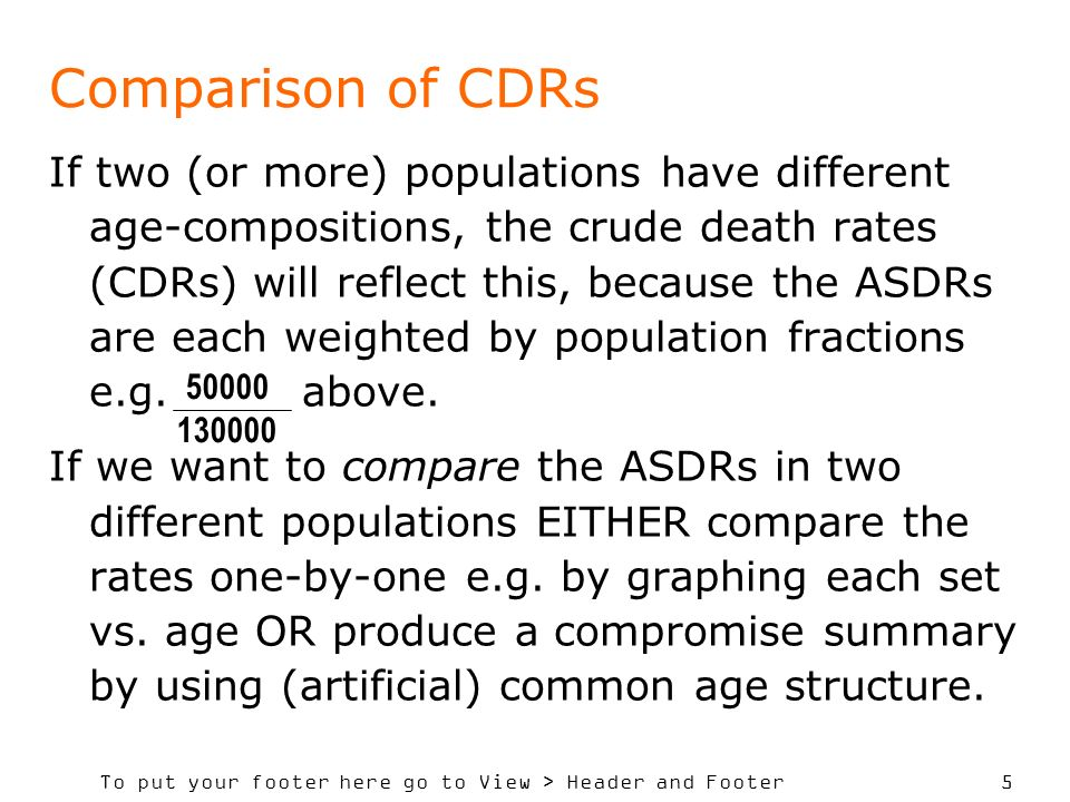 To put your footer here go to View > Header and Footer 5 Comparison of CDRs If two (or more) populations have different age-compositions, the crude de