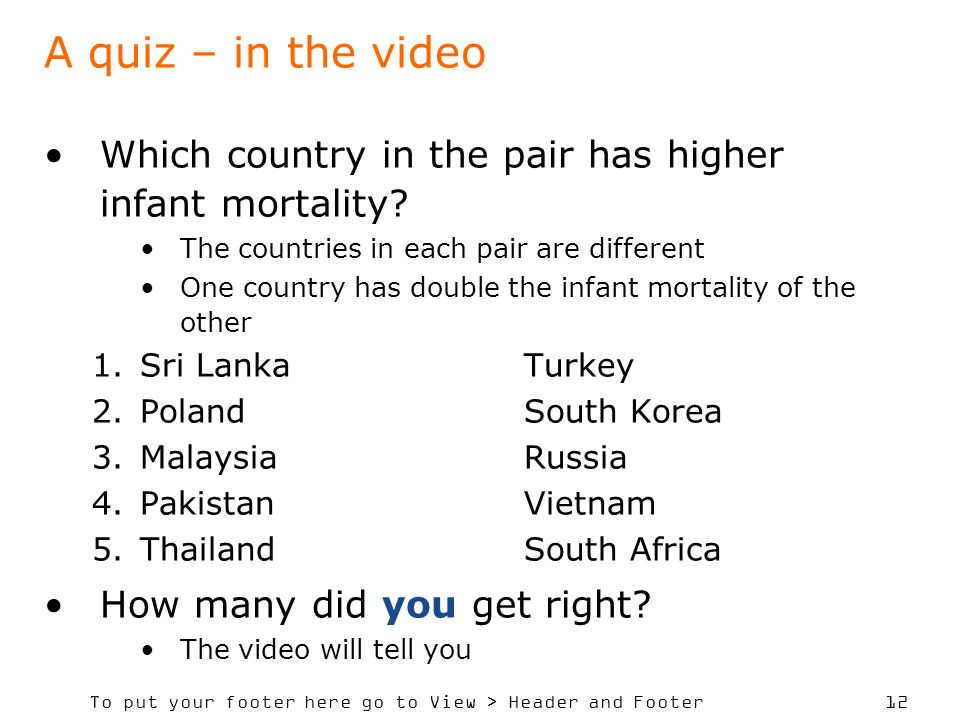 To put your footer here go to View > Header and Footer 12 A quiz – in the video Which country in the pair has higher infant mortality.