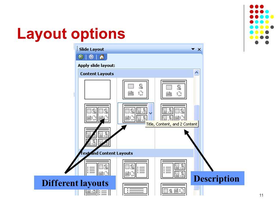 11 Layout options Description Different layouts